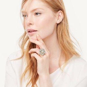 NWT Ann Taylor Large Floral Crystal Ring  8  Aqua
